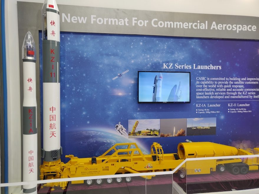 Kuaizhou-1A and 11 launch vehicle models on display at IAC 2018 in Germany. Credit: Andrew Jones