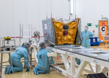 Each OneWeb spacecraft weighs about 150 kilograms — much more than cubesats but considerably less than the average communications satellite, which often weighs several tons. Credit: ARIANESPACE/CNES/ESA