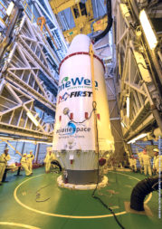 The Soyuz rocket carrying OneWeb's first satellites also bore the logo of FIRST (For Inspiration and Recognition of Science and Technology), a nonprofit focused on instilling youth with a fascination for science and technology. Credit: ESA/CNES/ARIANESPACE