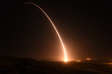 An unarmed Minuteman 3 intercontinental ballistic missile launches during an operational test at Vandenberg Air Force Base, California. The ICMBs are the ground-based component of the U.S. nuclear triad. Credit: U.S. Air Force