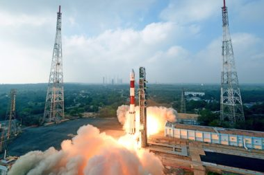 Swarm launched its first four satellites in January 2018 on an Indian PSLV rocket, without FCC approval. Credit: ISRO