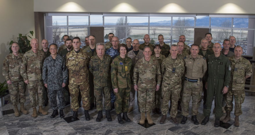 Air Force Chief of Staff Gen. David Goldfein (front row, fifth from right) hosts his counterparts from partner nations in Colorado Springs, Colorado, April 11, 2019. Credit: Dave Grim, Air Force