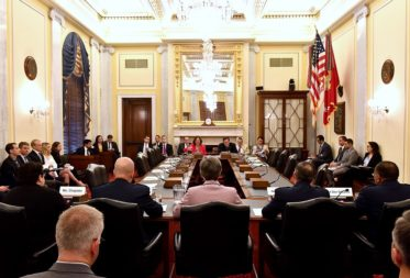 Secretary of the Air Force Heather Wilson, center, and Air Force Chief of Staff Gen. David Goldfein, to her right, testify before the Senate Armed Services strategic forces subcommittee May 17, 2017, in Washington. Credit: U.S. Air Force photo/Scott M. Ash